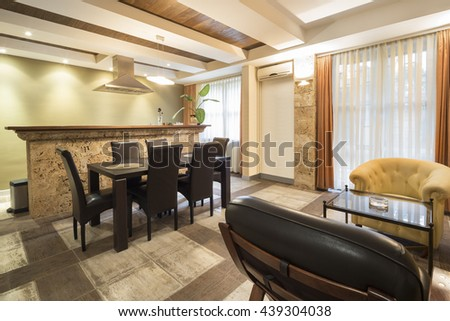 Wooden table in a dining room