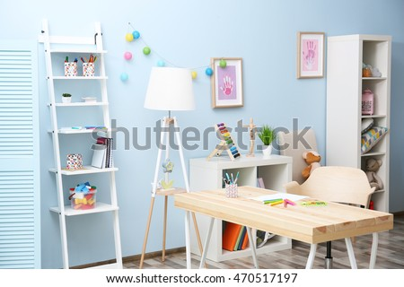 Wooden Table In Blue Children Room Interior Part 69