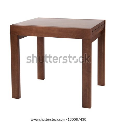 Wooden table isolated on white - stock photo