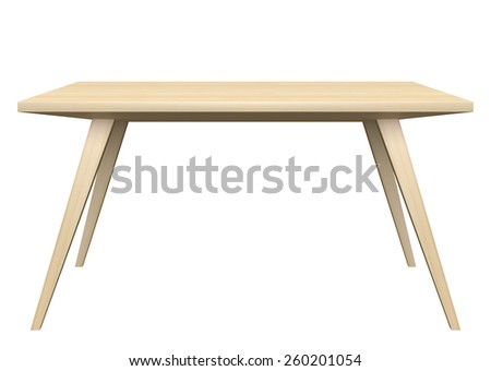 Wooden table isolated on white background. - stock photo