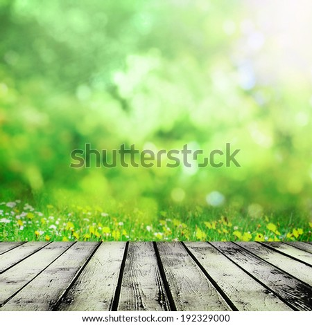 Wooden table near spring meadow - stock photo