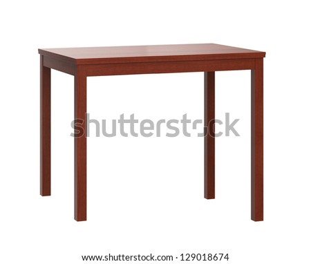 Wooden table on white background - stock photo