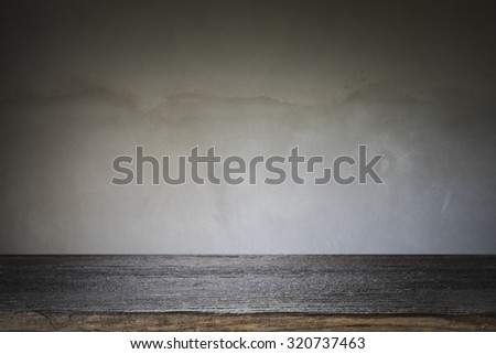 Wooden table or floor platform and polished concrete surface background
