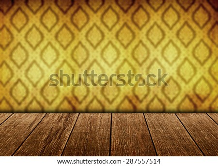 Wooden table or floor with Thai pattern background