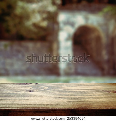 Wooden table template for product display - stock photo