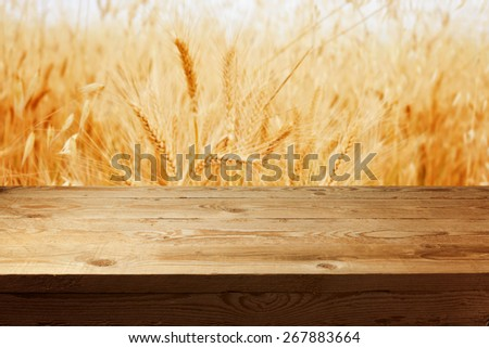 Wooden table template for product montage background - stock photo