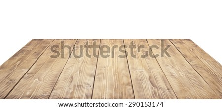 Wooden table top isolated on white background. - stock photo