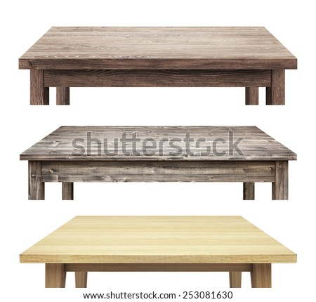 Wooden table tops isolated on white background - stock photo