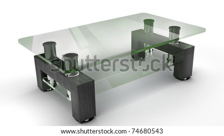 Wooden table with glass isolated on the white background 3d render