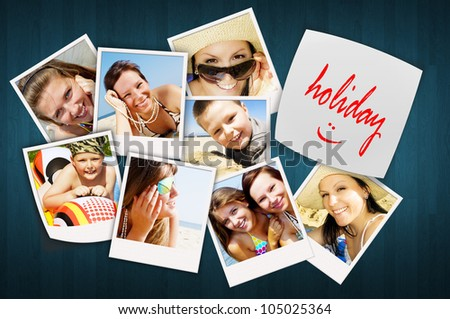 wooden table with holiday photos of happy joying people - stock photo