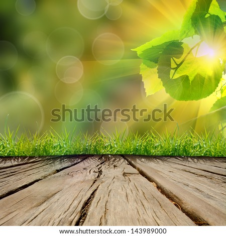 wooden table with the nature backgroung - stock photo
