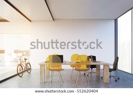 Wooden table with yellow transparent chairs and a glass wall. Panoramic window. Large open office space is to the left of it. 3d rendering. Toned image