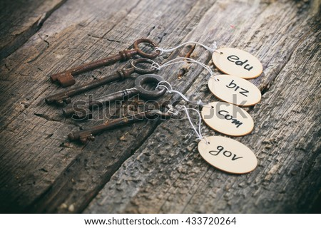 Wooden tags with domain names on old rusty keys, on wooden surface. - stock photo