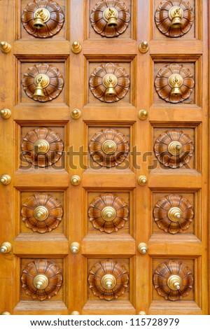 Wooden temple door with bells in Hindu temple & Wooden Temple Door Bells Hindu Temple Stock Photo (Royalty Free ...
