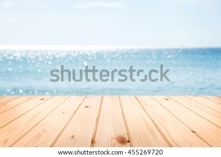 Wooden Terrace With Sand Beach And Tropical Sea.