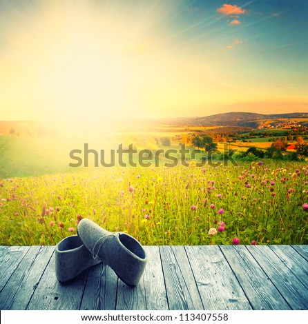 wooden terrace with view with blue sky and green grass and the sunshine - stock photo