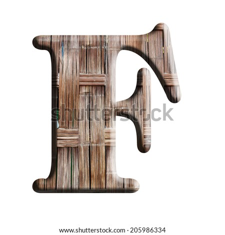 Wooden texture alphabet on a white background