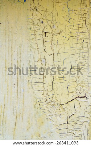 Wooden texture. Old wooden painted walls, peeling paint shabby yellow.
