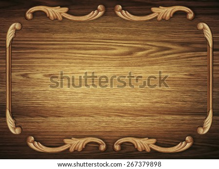 Wooden texture with decorative antique pattern - stock photo