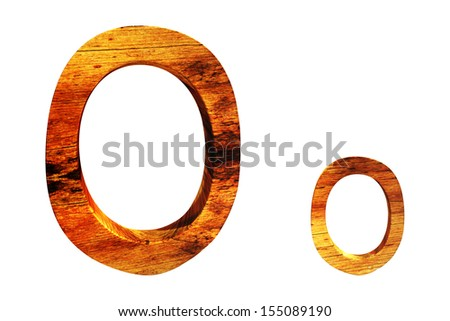 wooden textured 3d letter o