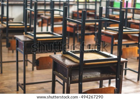 Wooden Thai School Chairs On The Desk At The End Of The Day