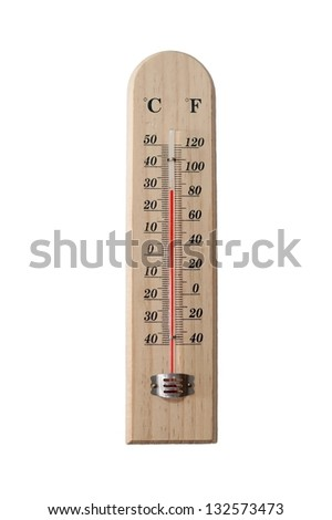 Wooden thermometer isolated on white background