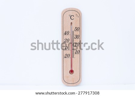 wooden thermometer low scale  isolated white background.