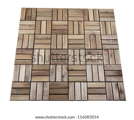 wooden tiles isolated on white with clipping path