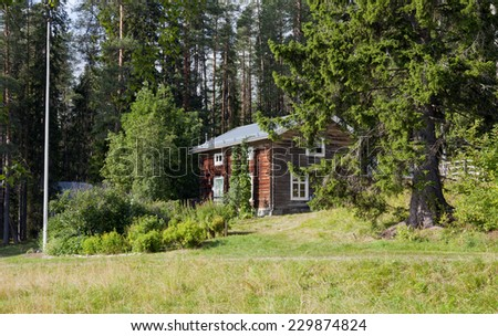 Wooden timber building in sunny afternoon. Huge spruce, fir this side on the slope. Farmland, flowers and plants to the left, forest in the background. - stock photo