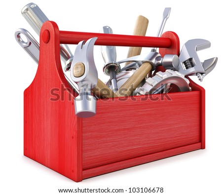 wooden toolbox with tools. isolated on white. - stock photo