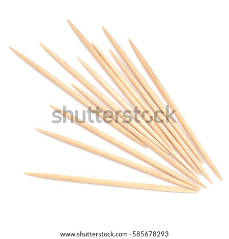 Wooden toothpicks, cocktail sticks. On white.