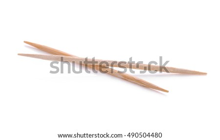 wooden toothpicks isolated on white