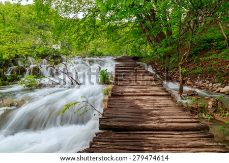 Wooden tourist path in Plitvice lakes national park-Croatia