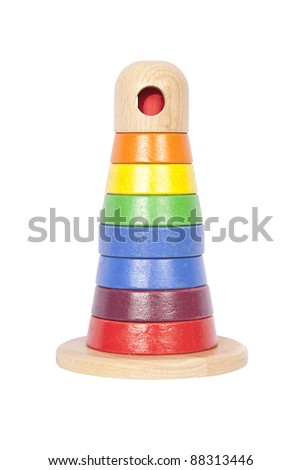 Wooden tower baby toy isolated on white - stock photo