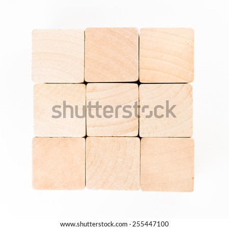 Wooden toy blocks isolated on white background. - stock photo