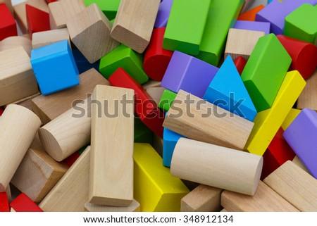 Wooden toy building blocks - stock photo