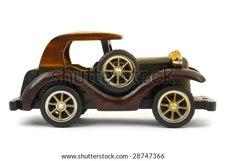 Wooden toy car isolated on white background