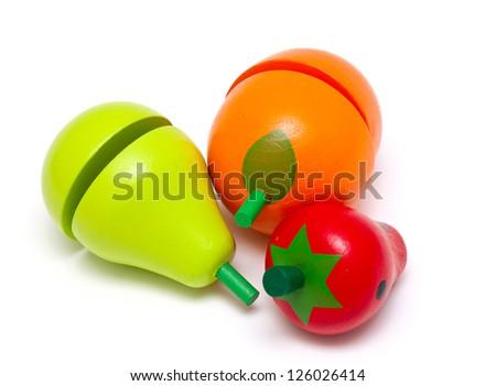 wooden toy fruits isolated on white background - stock photo