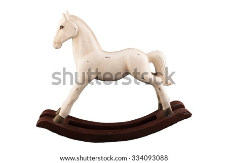 Wooden toy horse isolated on white - stock photo