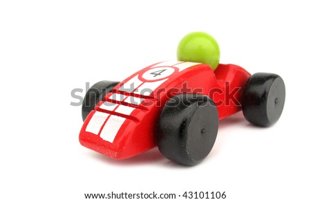 Wooden toy red race car - stock photo
