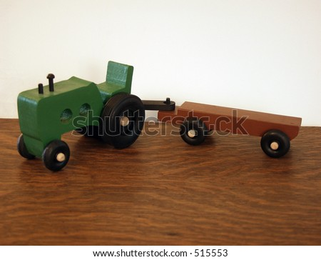 wooden toy tractor - stock photo