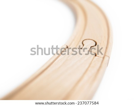 Wooden toy train lines isolated on white. Horizontal - stock photo