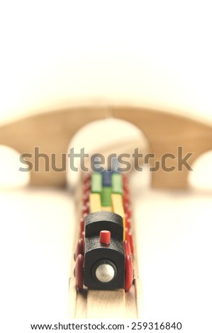 Wooden toy train setup - stock photo