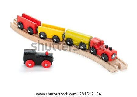Wooden toy trains. Isolated on white background - stock photo