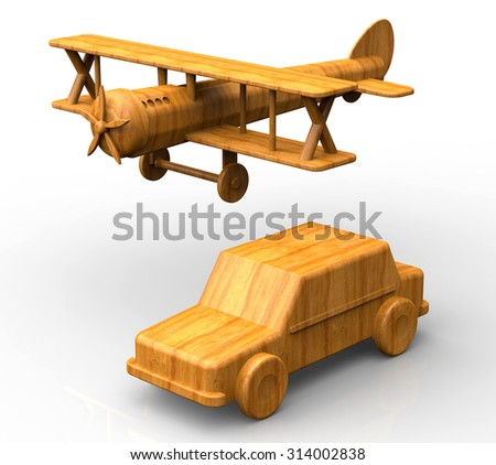 Wooden toys - airplane and a car - stock photo