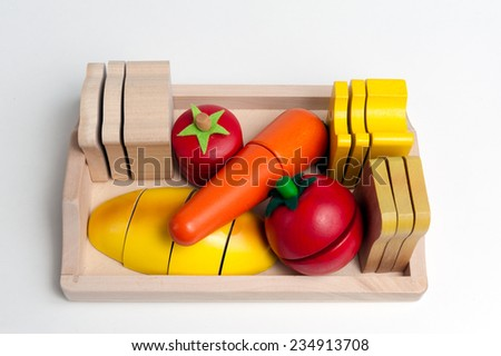 Wooden toys in the form of food - stock photo