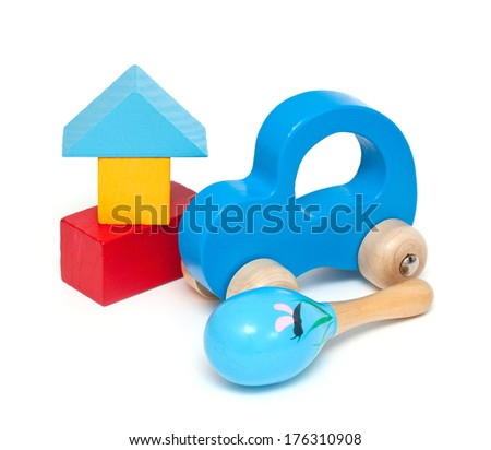 wooden toys isolated on white - stock photo
