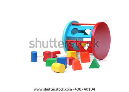Wooden toys to learn matching shape - stock photo