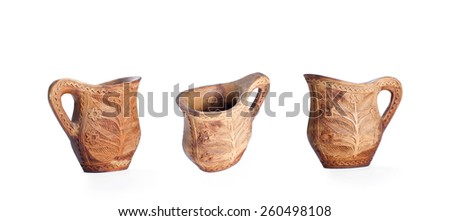 Wooden traditional finnish wooden cup isolated on white background