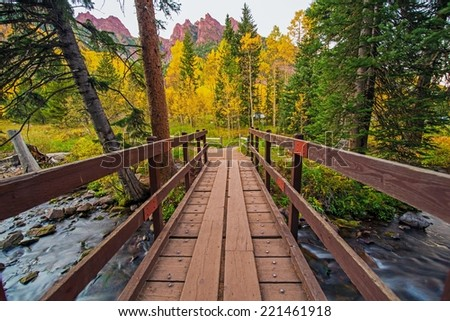 Wooden Trail Bridge in Colorado Aspen Area. Colorado, United States. - stock photo